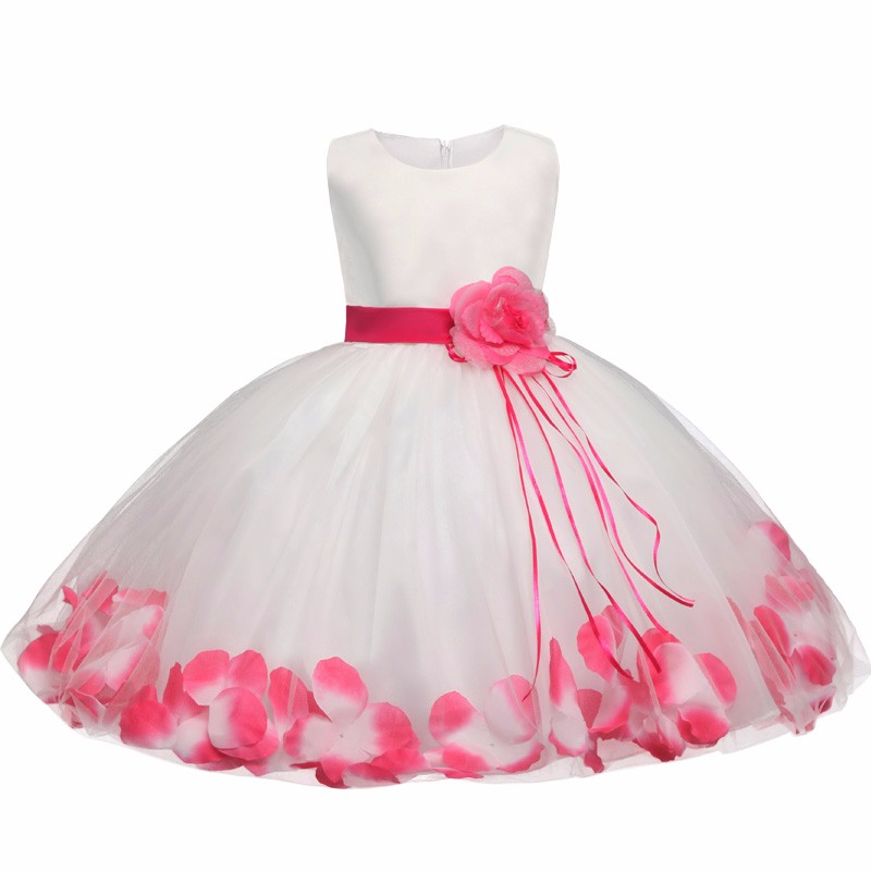 Tutu Flower Baby Dress For Wedding Party Sleeveless Infant Baby Petal Dresses For 1 Years Toddler Girl Birthday Baptism Clothes