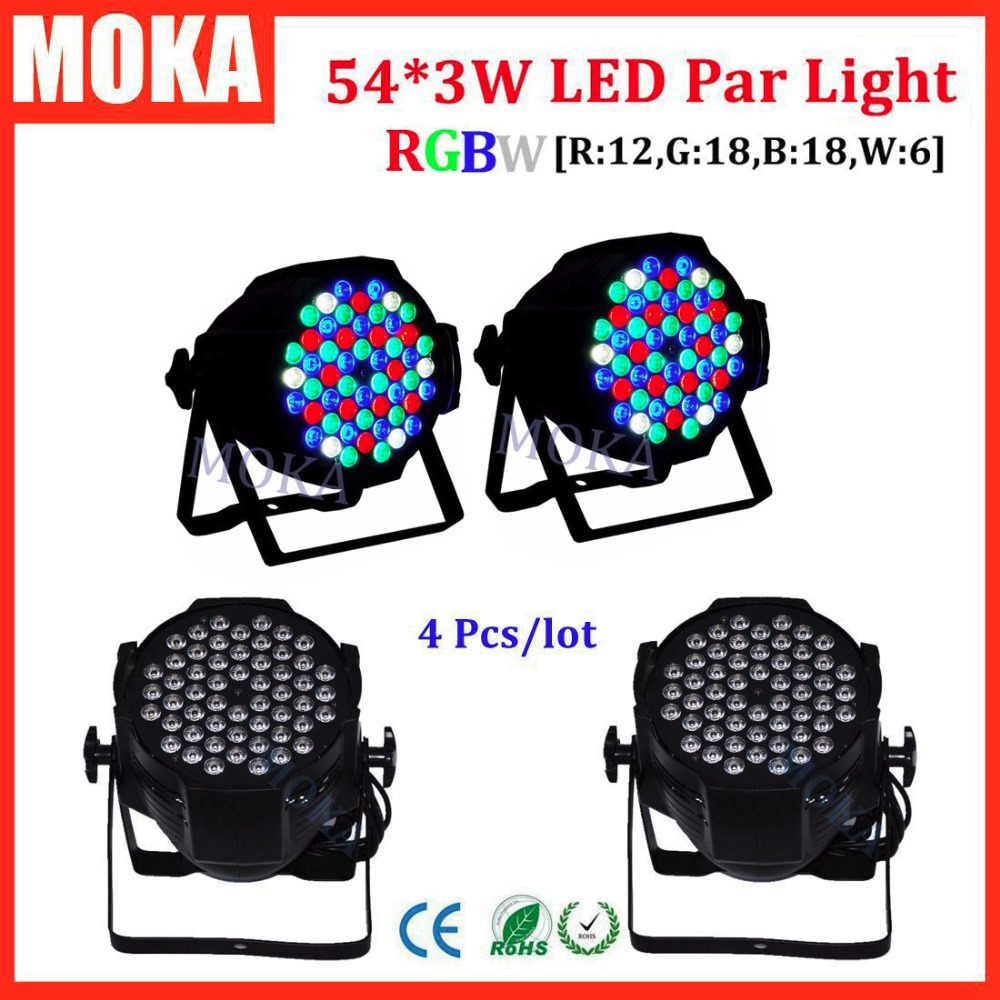 купить  4 Pcs/lot led stage light 54*3W outdoor led par light dmx 512 stage effect lighting disco bar night club lighting  онлайн