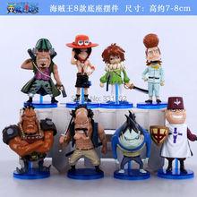 anime figures  One Piece Whitebeard Namyuru Haruta Jiru Curiel Pirates Ace Toys Dolls PVC Action Figure 8pcs/set Free Shipping
