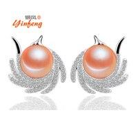 New Arrival 9 10mm Big Size Pearl Earrings For Women Elegant Phoenix Legend 925 Silver Jewelry