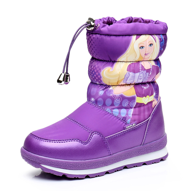2018 new winter waterproof childrens boots winter girls beautiful snow boots cartoon boots thickened baby skiing shoes