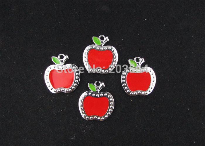 AE205 20pcs Mixed Enamel Apple Charms Pendants Pet Charm for Necklace Charm 28x24mm