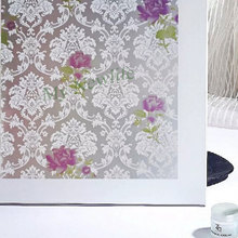 Stained Privacy Window Film Glass stickers Purple rose flowersSelf-Adhesive balcony Bedroom Home Decorative PVC films  60*500cm