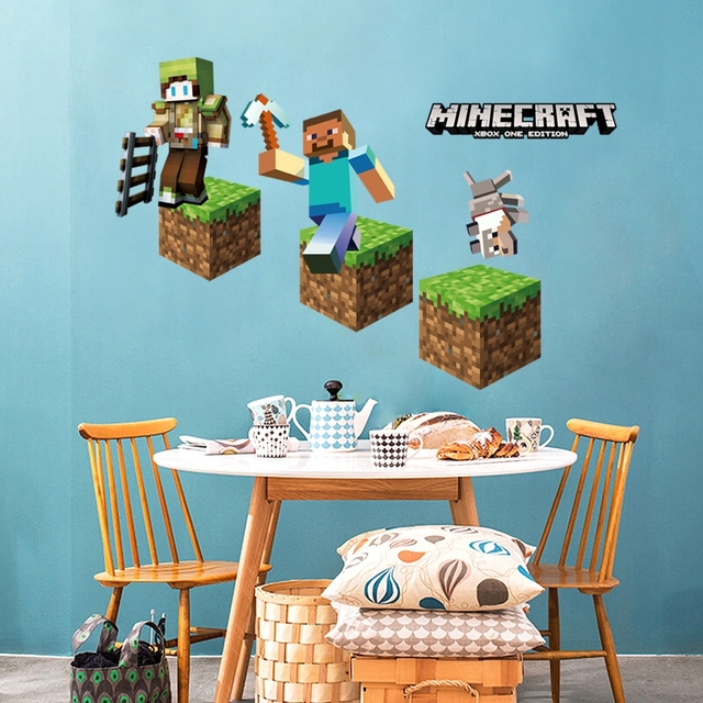 Minecraft Wall Stickers for Kids Rooms Game Tools Toys 3D Wallpaper