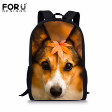 FORUDESIGNS Welsh Corgi Pembroke Print Teen Girl School Bag Children Schoolbag With Soft Handle Primary Book bag Zipper Satchels