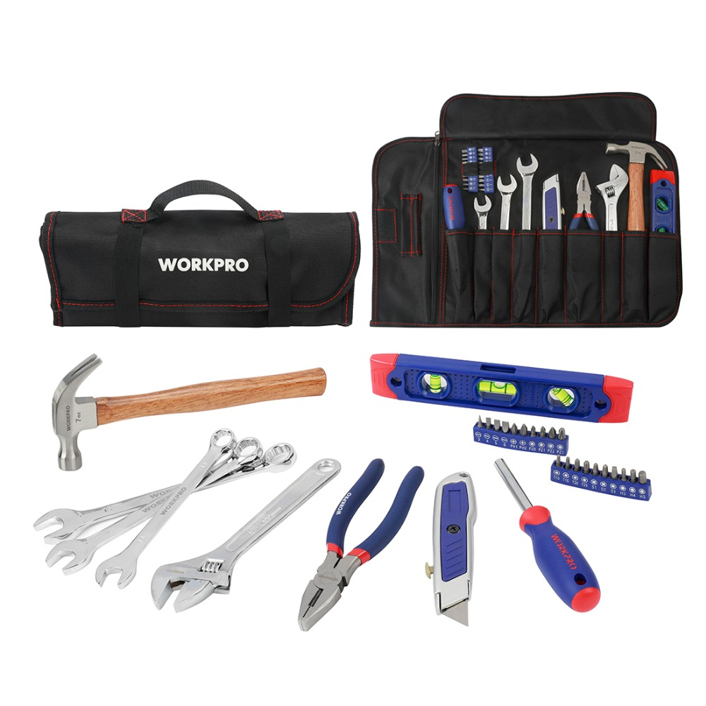 WORKPRO 29PC Home Tool Set Metric Hand Tools Plier Knife Screwdriver Wrench Hammer Metric Tools Roll BagWORKPRO 29PC Home Tool Set Metric Hand Tools Plier Knife Screwdriver Wrench Hammer Metric Tools Roll Bag