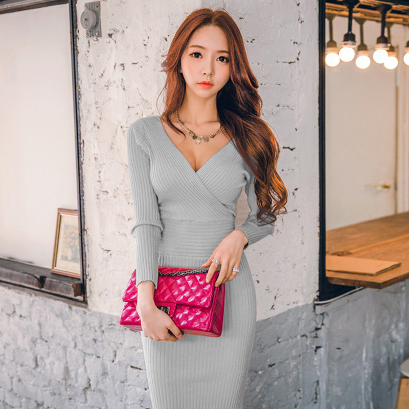OL High Quality Knitted Cotton Solid Skinny Double V-neck Sweater Dress Casual Women Slim Hip Packaged Soft Dress Vestidos Femme