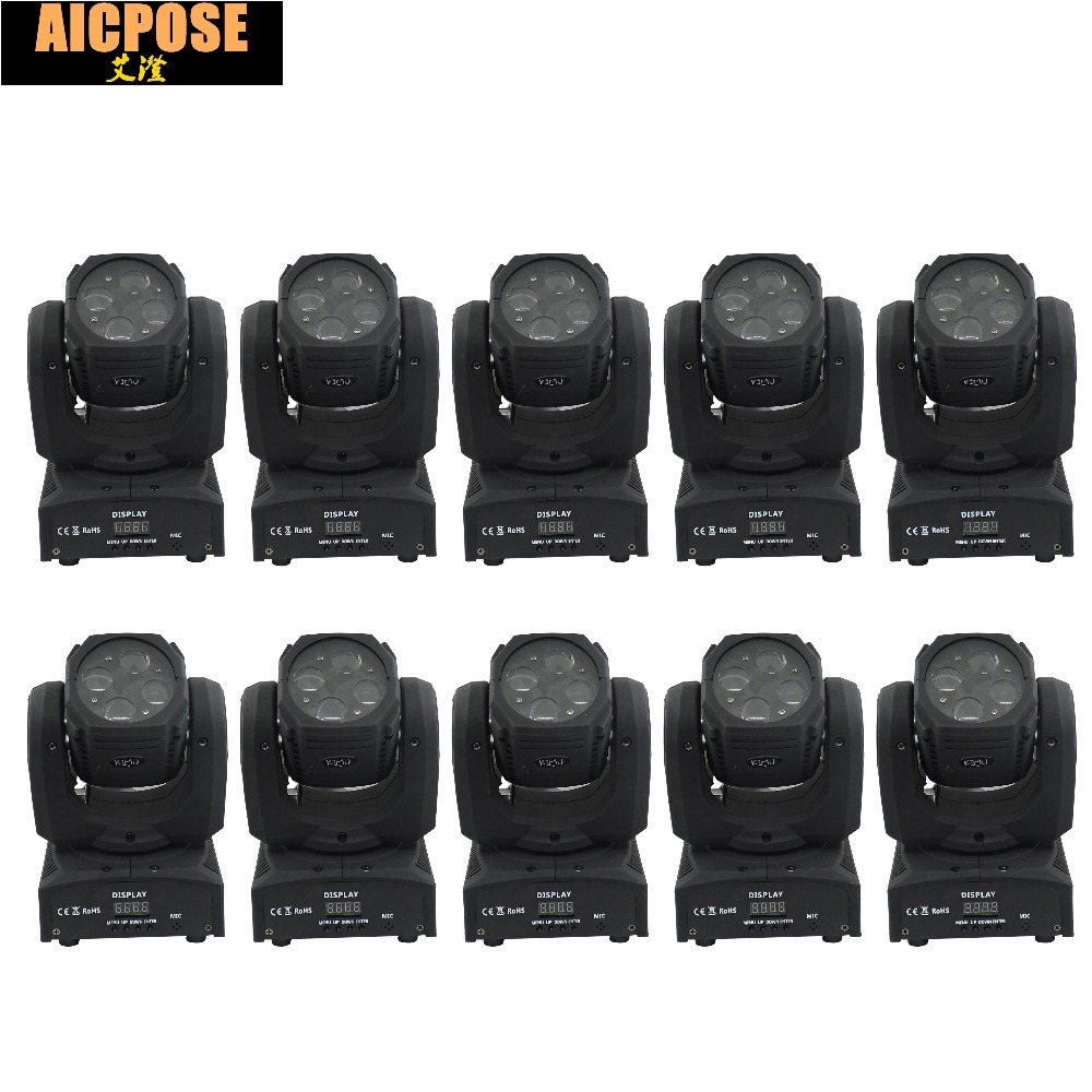 10units Mini 4X10W Super Beam Moving Head Lights 60W High Brightness LED Beam Lights Perfect For DJ Disco Party Wedding Shows super brightness 4x10w rgbw led mini beam moving head dj light led wash disco lighting led display dmx dj equipment for party