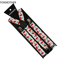 FOXMOTHER Women Braces Adjustable 1 Inch Wide Clip On White Cherry Print Elastic Suspenders Woman Bretelle Tirantes