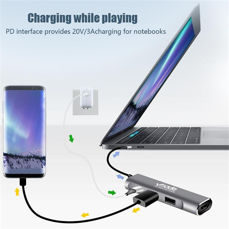 Image 4 - Vmade 4 in 1 USB HUB USB C HUB Adapter to HDMI PD port Converter for MacBook Pro Type C HUB for Huawei P20 Mate 20 Pro 3.1 HUB-in USB Hubs from Computer & Office