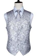 Erkek klasik Paisley jakarlı yelek yelek mendil parti düğün kravat yelek takım elbise cep kare seti