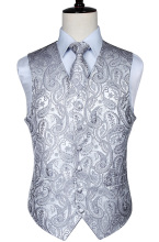 Mens Classic Paisley Jacquard Waistcoat Vest Handkerchief Party wedding Tie vest Suit  Pocket Square Set