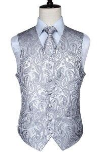 Image 1 - Mens Classic Paisley Jacquard Waistcoat Vest Handkerchief Party wedding Tie vest Suit  Pocket Square Set