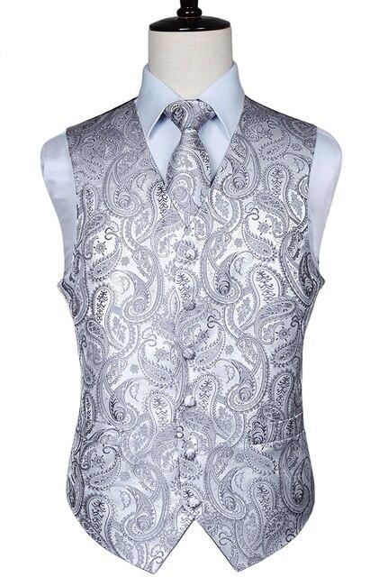 Mens Classic Paisley Jacquard Waistcoat Vest Handkerchief Party wedding Tie vest Suit  Pocket Square Set
