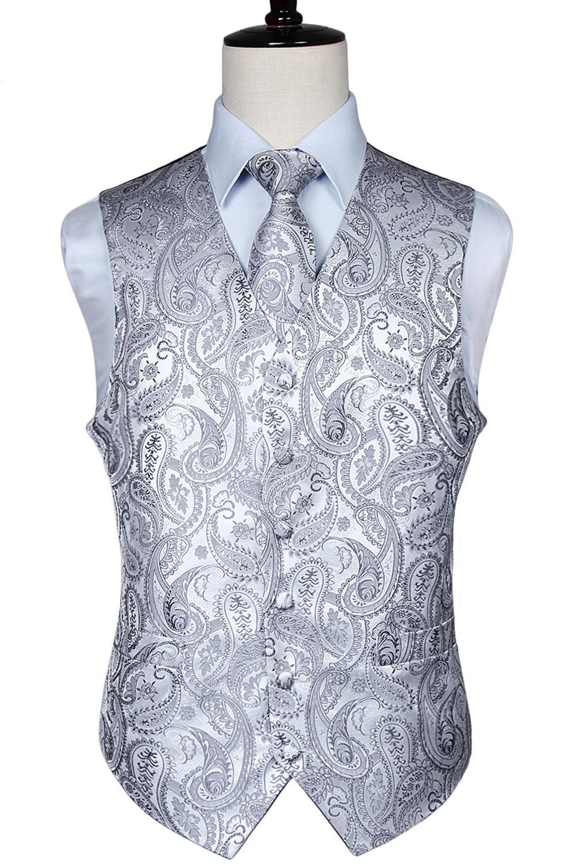 Men's Classic Paisley Jacquard Waistcoat Vest Hankerchief Party wedding Tie vest Suit Pocket Square Set