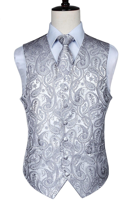 Uomo Classic Paisley Jacquard Gilet Vest Vestito della maglia Pocket Piazza Hankerchief wedding Party Cravatta Set