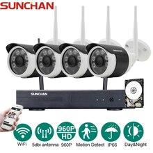 SUNCHAN 4 Kanal HD 4CH NVR 960 P Drahtlose CCTV System Außen Tag Nachtsicht Überwachungskamera Startseite WIFI Überwachung Kit 1 TB