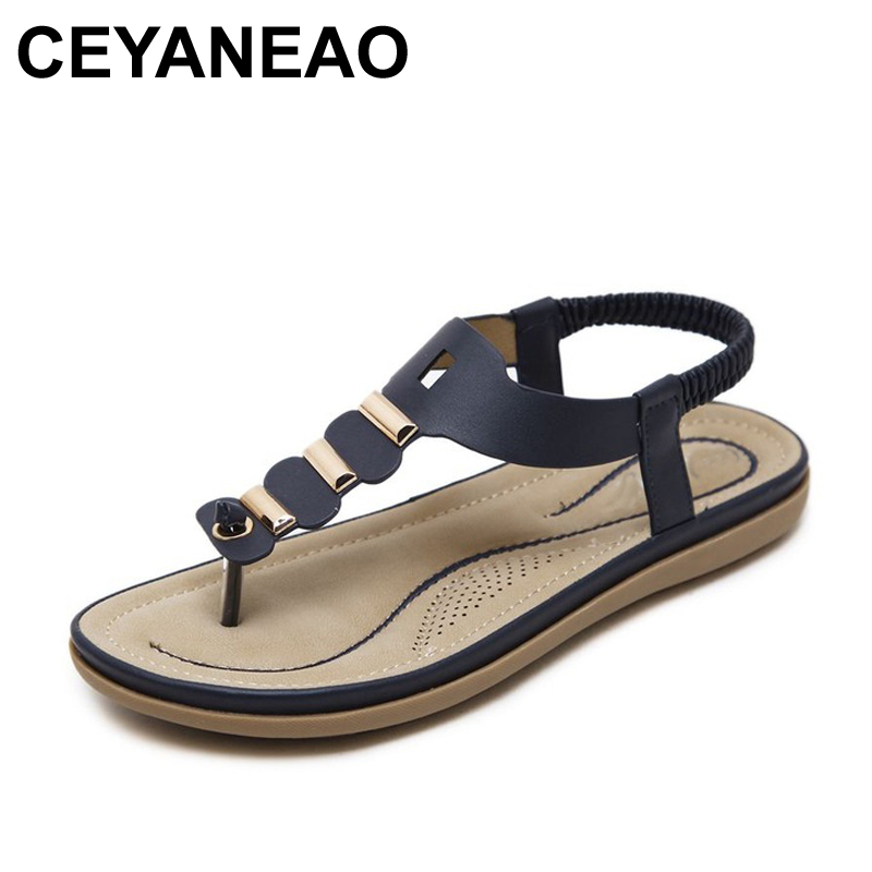 CEYANEAO2018 Bohemia casual fashion woman soft sandals Summer New Wedge Women Flip Flops flat Beach plus size Shoes covoyyar 2018 fringe women sandals vintage tassel lady flip flops summer back zip flat women shoes plus size 40 wss765