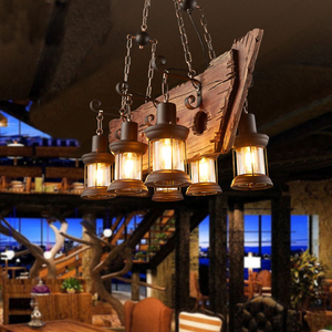 Image 4 - Retro Bar Industrial Wind Chandelier Loft Solid Wood Personality Restaurant Bar Industrial Coffee Shop Industrial Chandelier