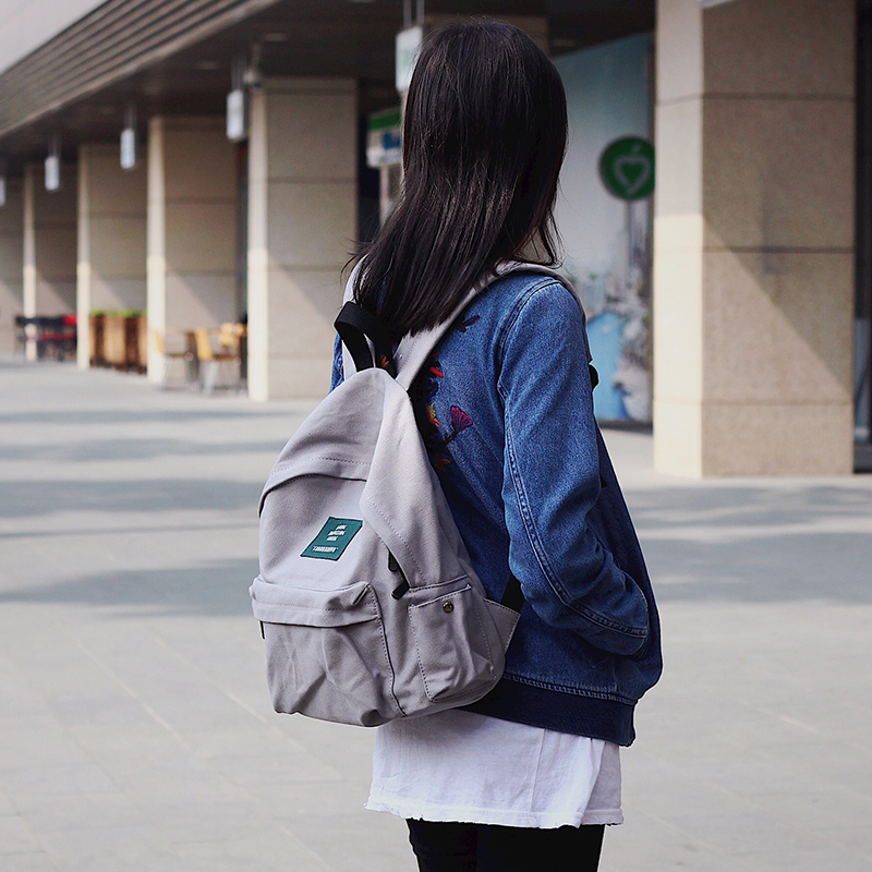 Japan Solid Canvas Backpack Women Small Casual Back Pack Girls School Bag Daily Backpack Mochila  Nbxq86