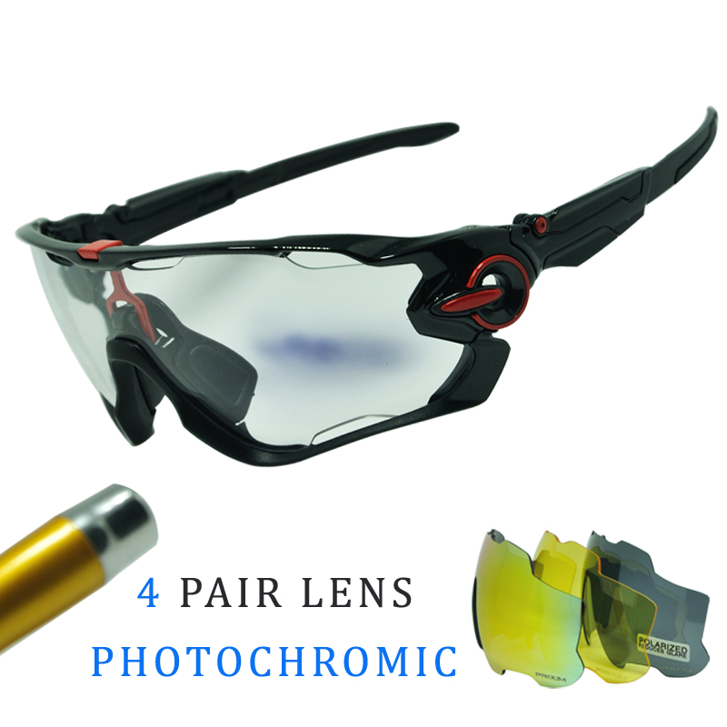 Polarized Sports Men Cycling Glasses 4 Lens Photochromic Cycling Eyewear Sunglasses Brand Designer Goggles With Myopia Frame 4 lens outdoor sports cycling glasses photochromic polarized men cycling eyewear sunglasses with myopia frame