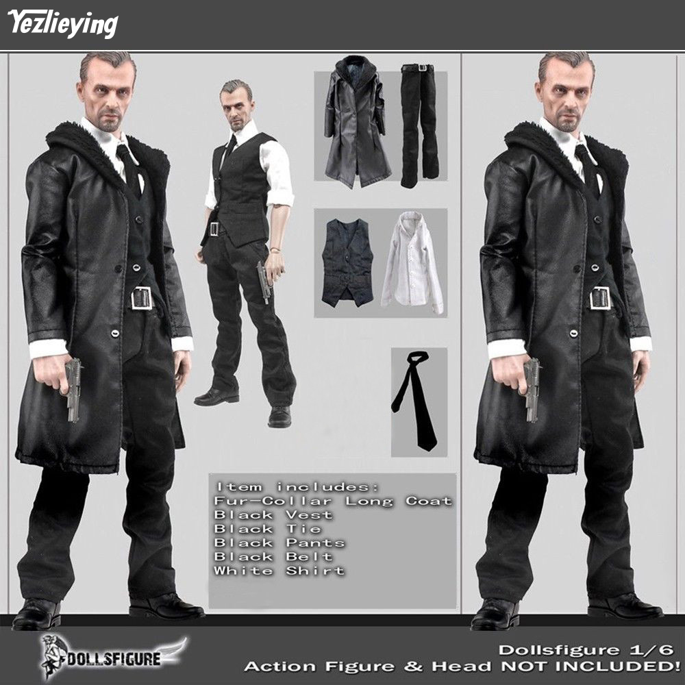 "pants For 12/"" Male Action Figure Toys 1//6 Scale Black leather coat"