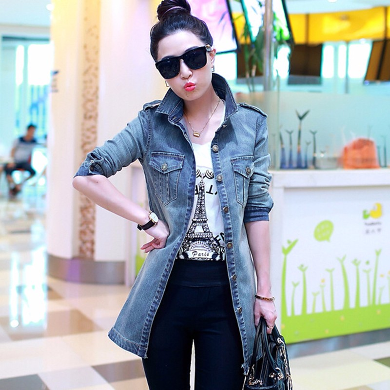 2016  Denim Trench Coat For Women Casual Female Plus Size Jean Windbreaker Jacket  (2)