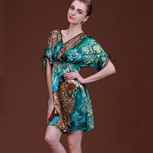 SSH054 New Arrivals Classic Women Nightgown Satin Silk Leopard Sleepwear for Women Summer Deep V-neck Sexy Nightwear Sleepshirts