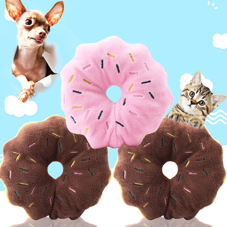 Pet Chew Cotton Donut Play Toys Lovely Dog Puppy Cat Tugging Squeaker Quack Sound Toy