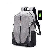 Negro y gris Alta calidad lona mochila de los hombres de moda 2017 Bolsos de Escuela Ocio mochila portatil 15.6 USB carga gran mochilas escolares para adolescentes niña mochila mujer escolar mochila masculina