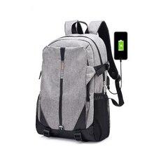 Новый мода USB унисекс холст рюкзак мужской Большой Емкости рюкзак школьный портфель для мальчиков портфель школьный для девочек подростков рюкзаки школьные для ноутбука рюкзак женщин высокого качества Школы мешок