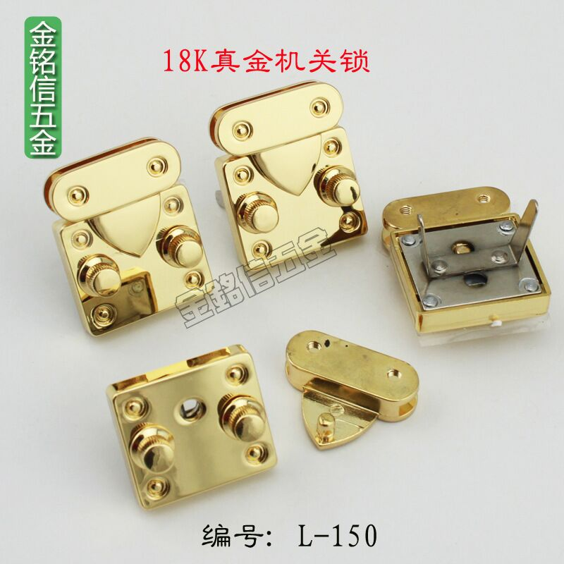 где купить Luggage hardware accessories Custom high-end handbags buckle Jewelry box zinc alloy lock Gold lock bodies 35 * 30mm дешево