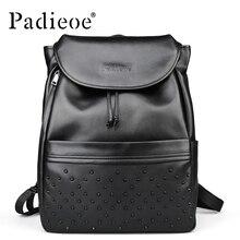 Padieoe Black top grain real cow leather backpack new fashion rivet women backpack 2016 high quality backpacks for teenage girls