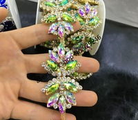 1 Yard Lot Fashion Butterfly Tie Red Blue AB Color Crystal Rhinestone Gold Chain Popular Stone