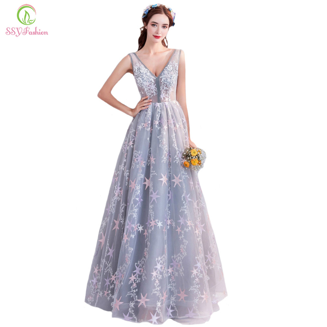 784d1175068e SSYFashion New The Banquet Elegant Evening Dress Sleeveless V-neck Grey  Lace Appliques Sequins Floor-length Party Formal Gown