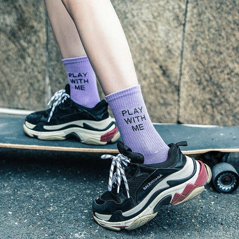 Socks   Woman 2019 Spring New Fashion Women   Socks   Cotton 1 Pair Letter School Girl Style Casual Korean Lady Happy   Socks   Women