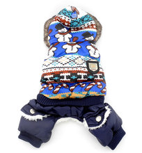 Small Dog Clothes Winter Snowman Dog Coat Fleece Lined Dog Jumpsuit Hoodie Pet Cat Puppy Clothes Pleated Ruffle Trim