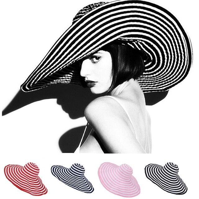 Womens Sun Hat Large Wide Brim Summer Hats Floppy Female Stripe Band Kentucky Derby Hat Fashion Beach Hats for Women A266