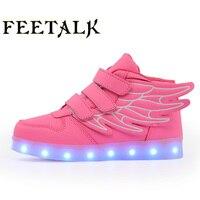 Ücretsiz Hediye 2017 Yeni Kız Aydınlık LED Işık Ayakkabı Melek Kanatları Bebek Erkek Koşu Led Ayakkabı Çocuk Sneakers boyut 26-38