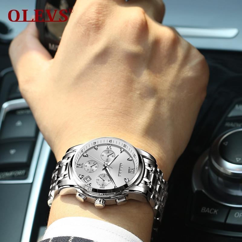 OLEVS relogio masculino Men's watch men Stainless steel Classic Fashion Rhinestone Roman scale Multifunction Wrist watches Clock
