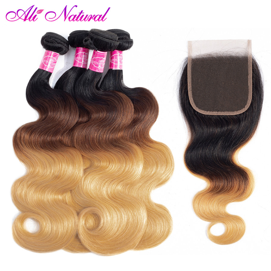 Ali Natural Indian Body Wave Human Hair 3 Bundles With Closure 10-26 Inch Non-remy Ombre T1B/4/27 Color Free Shipping