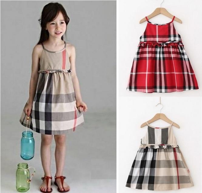 Free shipping children clothing summer girl 100% cotton plaid suspender dress classic grid dress