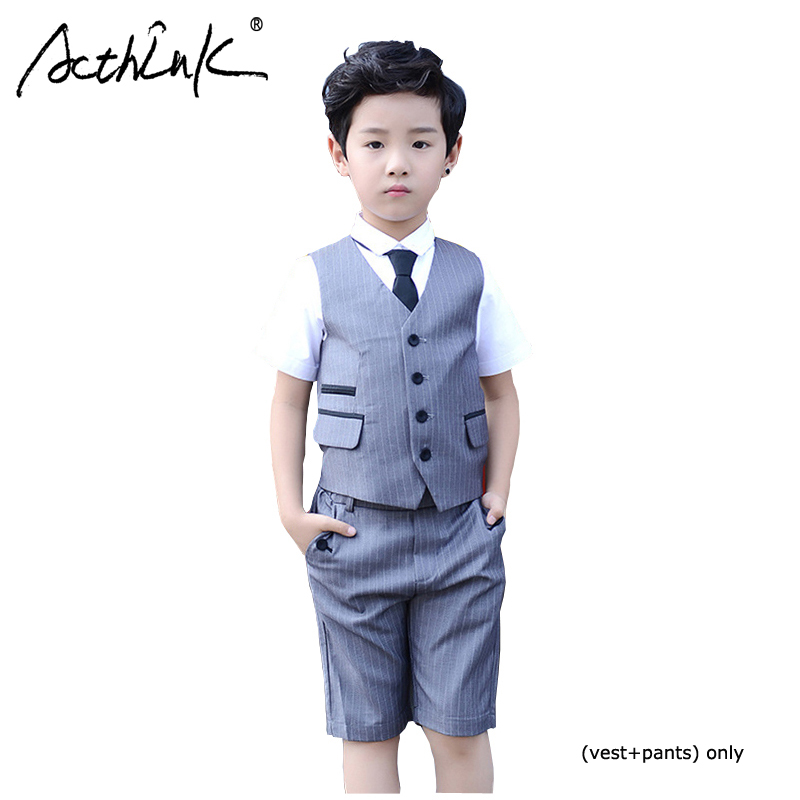ActhInK 2019 Fashion 2Pcs Boys Waistcoat Suit Vest+Pants Wedding Big Summer Grey Children Tuxedos For Boy