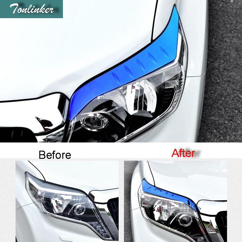 Tonlinker Cover Case Sticker for Toyota PRADO 2014-16 Car Styling 2 PCS stainless steel headlight decoration cover stickers bjmycyy 2 pcs car styling stainless steel small speaker circle patch stickers cover casw for chevrolet trax 2014 accessories