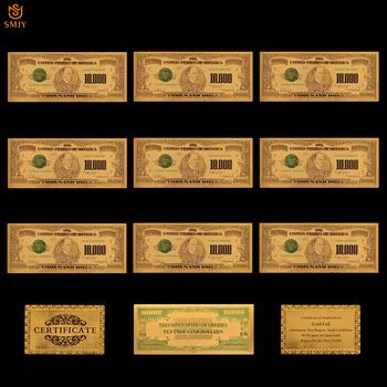 10 sztuk partia nas 1918 Edition 10000 dolara pieniądze 24 k złota folia banknot waluty papieru repliki banknotów kolekcje prezent tanie i dobre opinie Europa Patriotyzmu Pozłacane SMJY Banknote USA Currency 1 2 5 10 20 50 100 500 1000 5000 10000 Dollar As Real Size Copy Genuine Banknotes