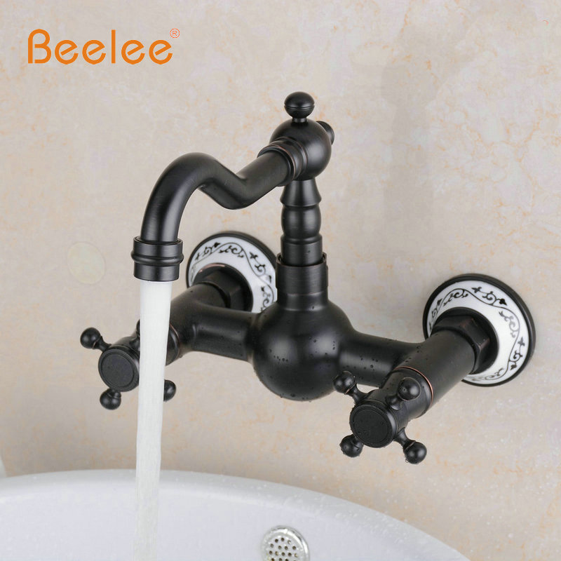 Beelee BL6056B-1 Oil Rubbed Bronze Kitchen Sink Faucet Wall Mounted Mixer Tap Rotatable Spout