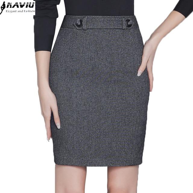 b86458df4 € 13.58 10% de DESCUENTO|Otoño moda delgada negro gris Falda Mujer Todo  fósforo Delgado formal mujer OL Oficina más tamaño Mini Falda corta en ...