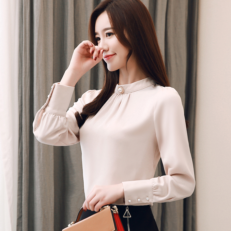 Women Shirts Blouse OL Women Tops And Blouses Casual Silk Long Sleeve Shirts For Woman Korean Spring Female Blouse Top Plus Size