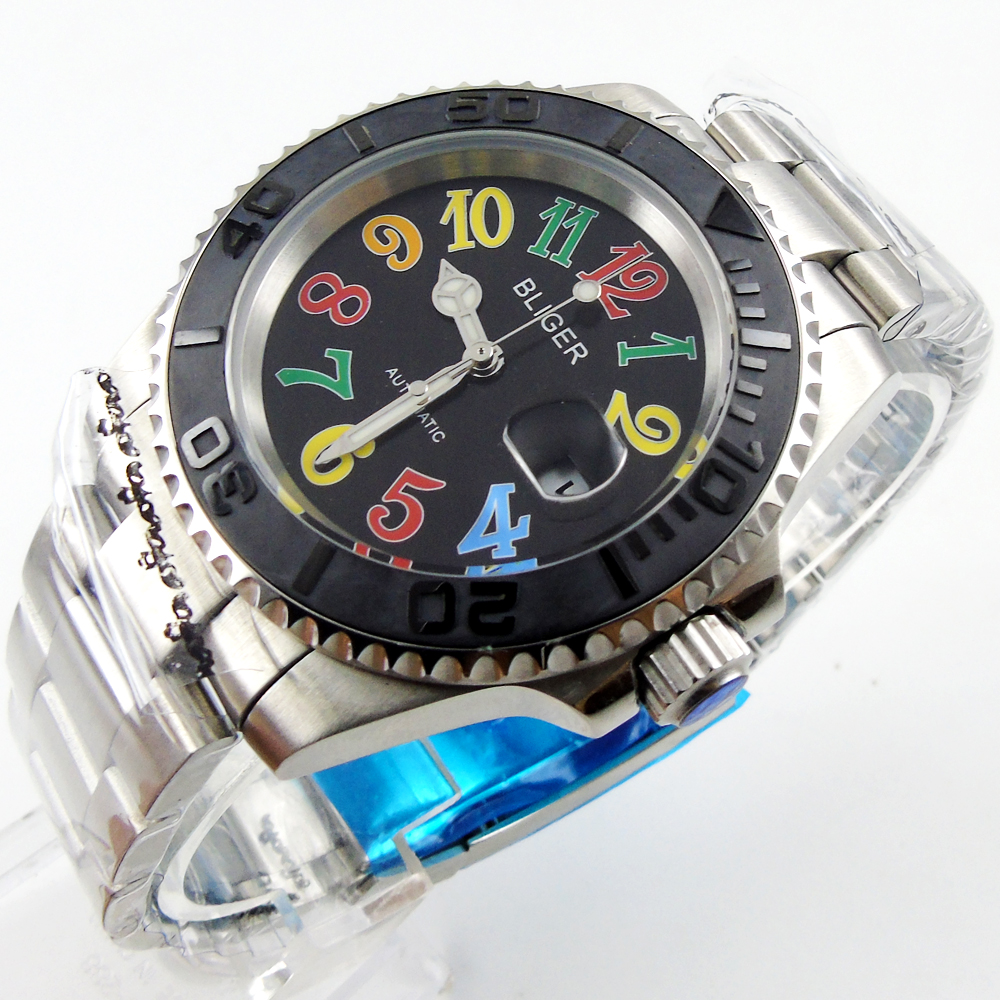 40mm Automatic Bliger black dial Sapphire Glass black  Ceramics Bezel Mens Watch40mm Automatic Bliger black dial Sapphire Glass black  Ceramics Bezel Mens Watch