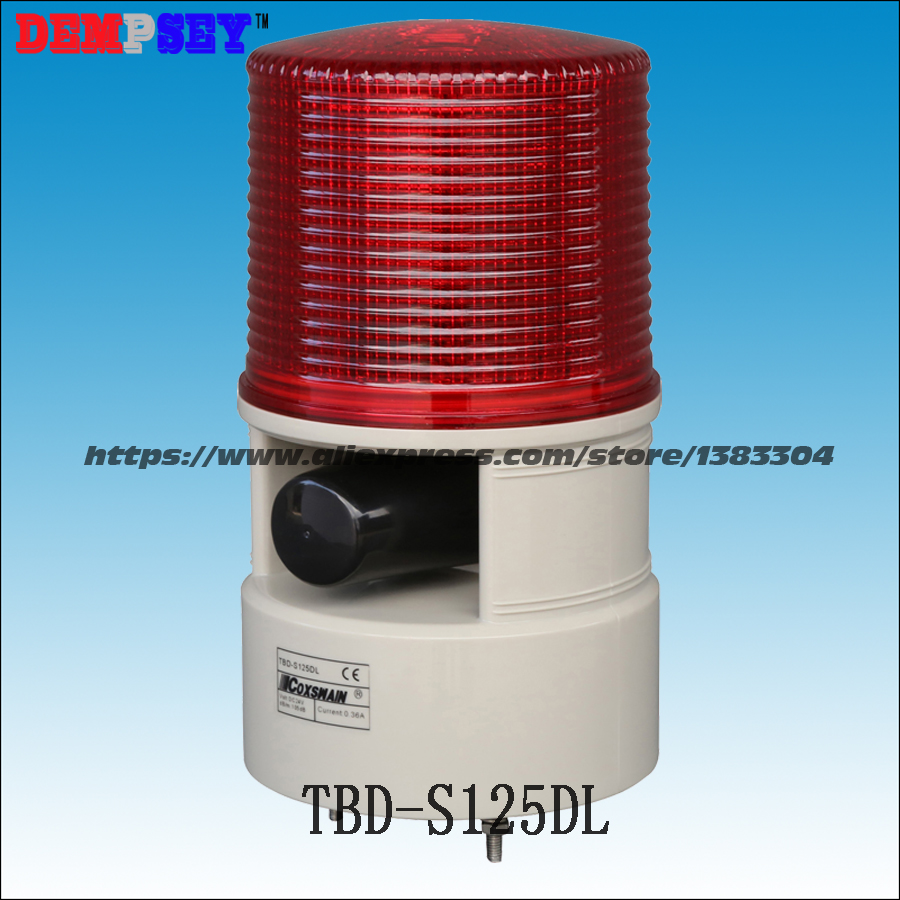 TBD-S125DL LED Industrial Alarm Light With 10W Siren Speaker, DC12/24V, AC110/220V Flashing Warning Lights,7 Sounds, PC Lens